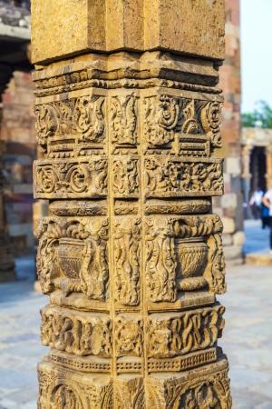 minar: stone carvings at pillars, Qutab Minar, Delhi