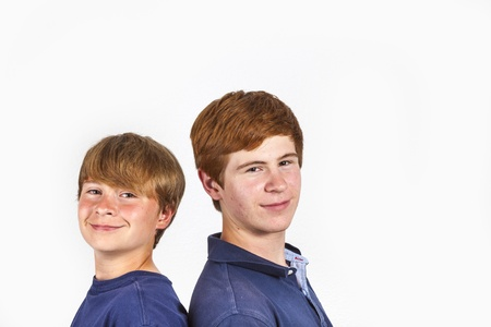 portrait of cute handsome brothers having fun together photo