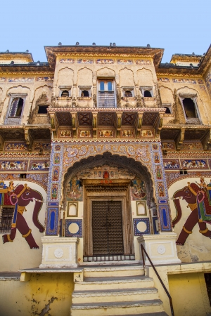 frescoed: MANDAWA, INDIA, OCT 25: beautiful old haveli on OCT 25 in  Mandawa, India. Rajasthan, India. the town referres as the open art gallery of Rajasthan because it is dotted with fascinating havelis with lavishly painted walls. Editorial