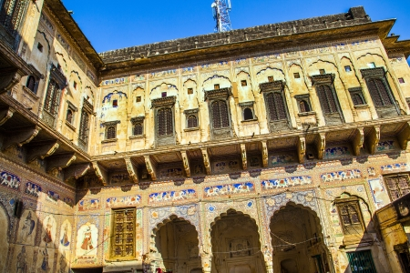 frescoed: beautiful old haveli  in  Mandawa, India.