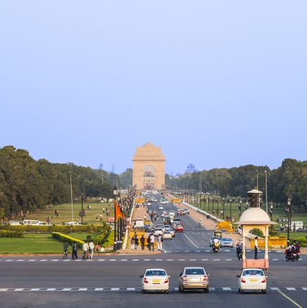 india gate: DELHI, INDIA - NOV 16: view on Rajpath boulevard to India gate on NOV 16,2012 in Delhi, India. (Rajpath is the ceremonial boulevard in New Delhi. Parades takes place here for India Republic day. Editorial