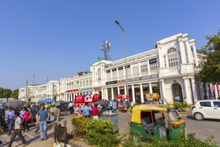 showpiece: DELHI, INDIA - NOV 16: Connaught Place is one of the largest financial, commercial and business centers on Nov 16,2012 in Delhi, India. Named after the Duke of Connaught, the construction work was  completed in 1933. It is the fourth most expensive office