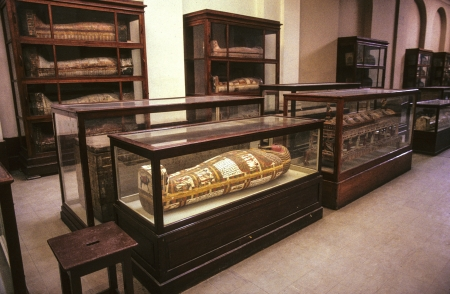 reportedly: CAIRO, EGYPT - JUNE 10: mummies at the Egyptian Museum on June, 10,1992 in Cairo,Egypt.  The museum at the Tahrir Square opened in 1902. During the Egyptian Revolution of 2011, the museum was broken into, and two mummies were reportedly destroyed