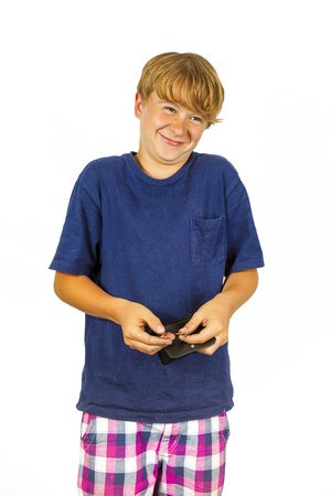 pocket money: boy is checking the pocket money in his purse Stock Photo