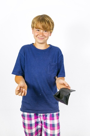 boy is checking the pocket money in his purse photo