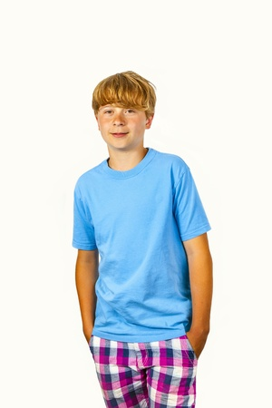 cute bold faced boy with white wall background photo