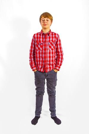 cool leisure young teenage boy in studio photo