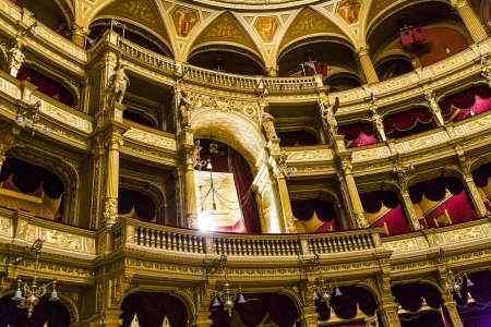 funded: BUDAPEST, HUNGARY - AUG 5: famous old state  Opera house in Budapest on Aug 5, 2008 in Budapest, Hungary. Designed by Miklos Ybl the construction lasted from 1875 to 1884 and was funded by Emperor Franz Joseph of Austria-Hungary.