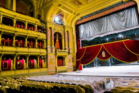 lasted: BUDAPEST, HUNGARY - AUG 5: famous old state  Opera house in Budapest on Aug 5, 2008 in Budapest, Hungary. Designed by Miklos Ybl the construction lasted from 1875 to 1884 and was funded by Emperor Franz Joseph of Austria-Hungary.