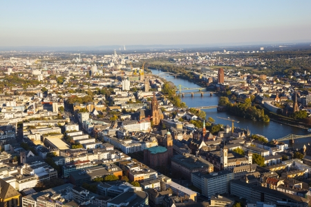 aerial of Frankfurt an Main with view to river Main in the evening photo