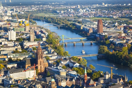 aerial of Frankfurt an Main with view to river Main in the evening
