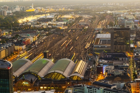 aerial of the Hauptbahnhof in Frankfurt an Main  in the evening photo