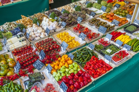 fresh vegetables and fruits offered at the victualien market in Munich
