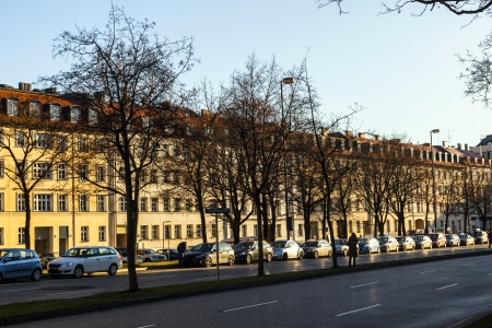 facade of houses for subsidized housing in Munich Stock Photo - 18699105