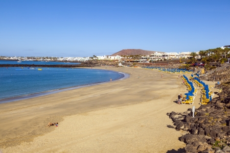 blanca: beach of Playa Blanca without people in early morning Editorial