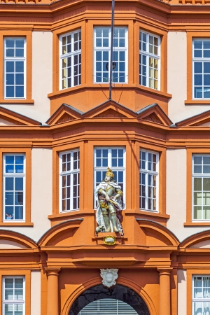 gutenberg: figure of a knight at the entrance of the Gutenberg Museum in Mainz, Germany Editorial