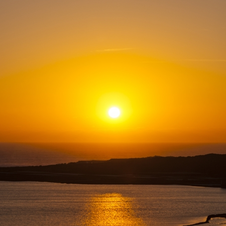 africa sunset: sunset at the salinas de Janubio in Lanzarote