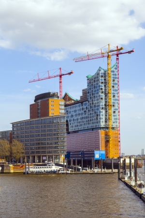 HAMBURG, GERMANY - APRil 18: concert hall Elbphilharmonie under construction on April 18,2013 in Hamburg, Germany. It will be the tallest inhabited building of Hamburg.