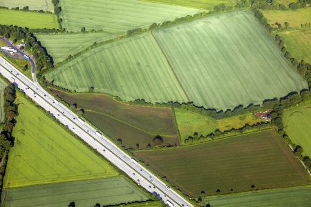 aerial of rural landscape with highway near Hamburg photo