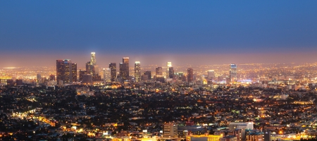 cityview van Los Angeles bij nacht