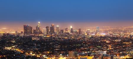 Stadtansicht von Los Angeles bei Nacht Lizenzfreie Bilder