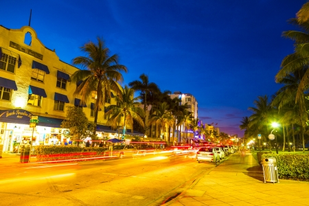 MIAMI BEACH - July 28: Night view at Ocean drive on July 28, 2013 in Miami Beach, Florida. Art Deco Night-Life in South Beach is one of the main tourist attractions in Miami.