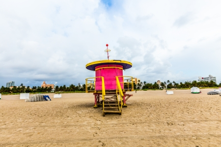 baywatch: wooden bay watch huts in Art deco style at the beach Stock Photo