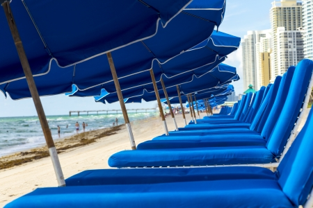 umbrellas and empty beach couches at the beach in Miami Stock Photo - 21331520