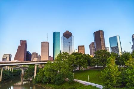 Blick auf Innenstadt von Houston in den späten Nachmittag mit Wolkenkratzer Lizenzfreie Bilder