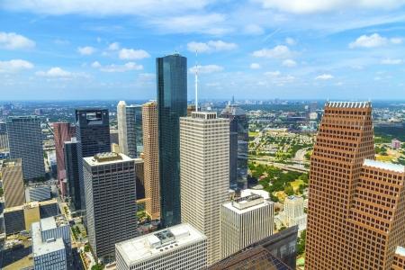 luchtfoto van moderne gebouwen in het centrum van Houston overdag Stockfoto