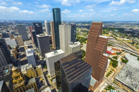 aerial views: aerial of modern buildings in downtown Houston in daytime