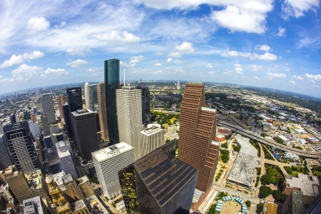 aerial of modern buildings in downtown Houston in daytime