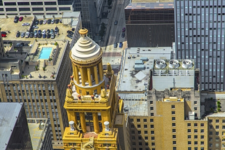 aerial of modern and historic   buildings in downtown Houston in daytime photo