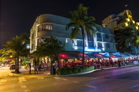 MIAMI BEACH - July 28  Night view at Ocean drive on July 28, 2013 in Miami Beach, Florida  Art Deco Night-Life in South Beach at Ocean Drive is one of the main tourist attractions in Miami
