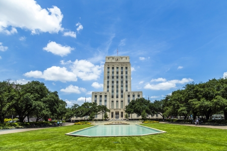 houston: Houston City Hall with Fountain and Flag Stock Photo