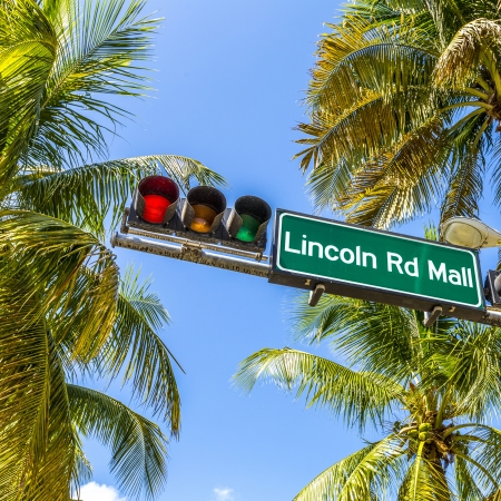 street sign Lincoln Road Mall in Miami Beach, the famous central shopping mall street in the art deco district photo