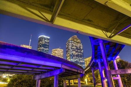 Uitzicht op het centrum van Houston in de late namiddag met wolkenkrabber