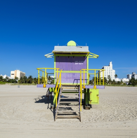 Lifeguard cabin on empty beach, Miami Beach, Florida, USA, safety concept. photo