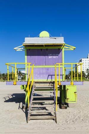 baywatch: Lifeguard cabin on empty beach, Miami Beach, Florida, USA, safety concept.