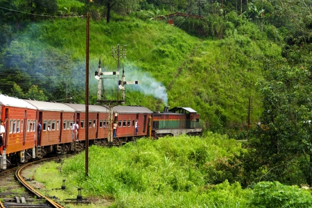 old train: riding by train the scenic mountain track from Nuwarelia to Colombo