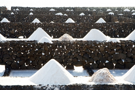 desalination: Salt will be produced in the old historic saline in Janubio, Lanzarote Stock Photo