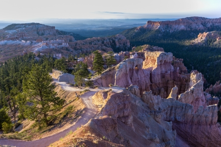 beautiful landscape in Bryce Canyon with magnificent Stone formation like Amphitheater, temples, figures in Morning light photo