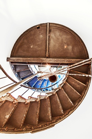spiral staircase in Point Arena Lighthouse in California photo