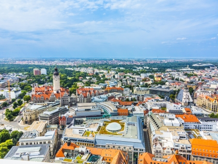 aerial view to city of Leipzig 写真素材