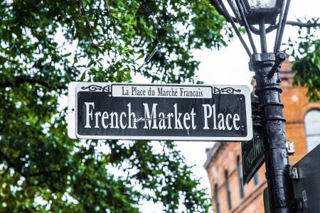 bourbon street: Streetsign French Market place in New Orleans in french Quarter Editorial