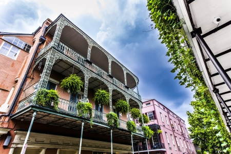 mardigras: old New Orleans houses in french Quarter Editorial