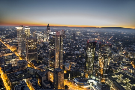 aerial of Frankfurt am Main by night photo