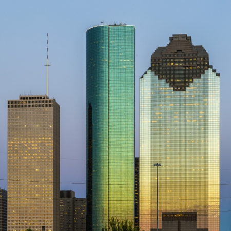 View on downtown Houston in late afternoon with skyscraper photo
