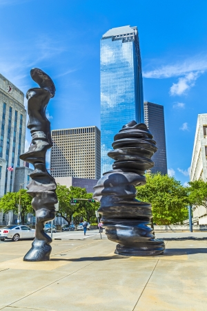HOUSTON, USA - JULY 11  sculpture  in Minds  from Tony Cragg is placed at Gagby Street on July 11, 2013 in Houston, USA  He created these large cast bronze pieces of art over a skeleton comprised of stainless steel  It must have been quite an undertaking