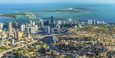 aerial of town and beach of Miami Beach Stock Photo